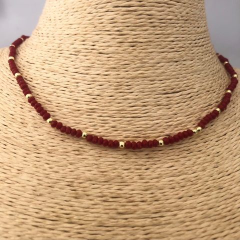 Collar bañado en oro 22k de 40cm Alargue de 3cm Cristal 2mm Rojo Oscuro Bolitas 2.3mm LBO31165