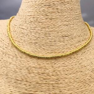Collar bañado en oro 22k Alargue 3cm Mostacilla Argolla Lisa 2.5mm LBO31202