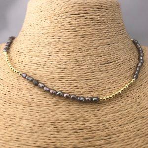 Collar bañado en oro 22k de 40cm  Alargue de 3cm Perla de Rio Bolita 2.3 LBO31204
