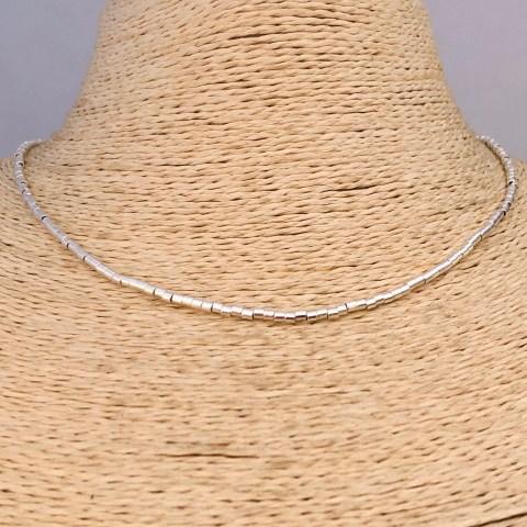 Collar bañado en plata de 40cm Alargue 3cm Mostacilla Tubo Lisa 2x2mm LBO31205
