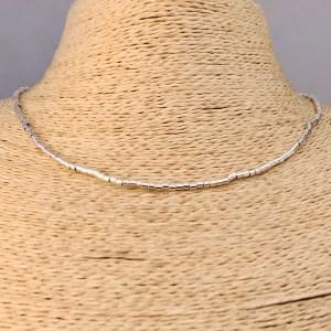 Collar bañado en plata de 42cm Alargue 3cm Mostacilla Tubo Lisa 2x2mm LBO31207