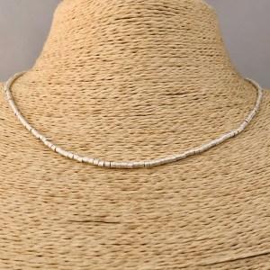 Collar bañado en plata de 40cm Alargue 3cm Mostacilla Tubo Lijada 2x2mm LBO31213