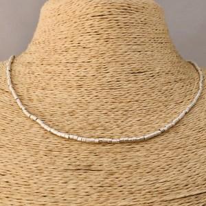 Collar bañado en plata de 42cm Alargue 3cm Mostacilla Tubo Lijada 2x2mm LBO31215