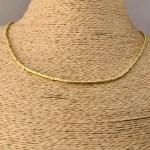 Collar bañado en oro 22k de 42cm Alargue 3cm Mostacilla Tubo Lijada 2x2mm LBO31216