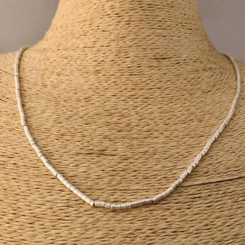 Collar bañado en plata de 50cm Alargue 3cm Mostacilla Tubo Lijada 2x2mm LBO31219