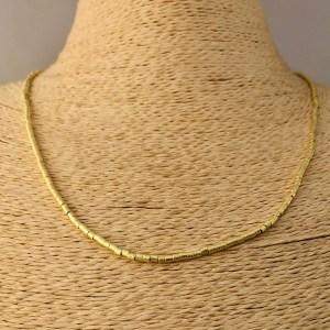 Collar bañado en oro 22k de 50cm Alargue 3cm Mostacilla Tubo Lijada 2x2mm LBO31220