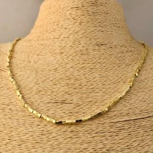 Collar bañado en oro 22k de 50cm Alargue 3cm Mostacilla Cuadrada Lisa 2x2mm LBO31222