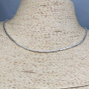 Collar bañado en plata de 40cm Alargue 3cm Mostacilla Tubo Lisa 2x4mm LBO31227