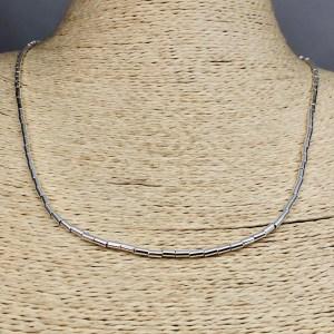 Collar bañado en plata de 50cm Alargue 3cm Mostacilla Tubo Lisa 2x4mm LBO31233