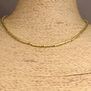 Collar bañado en oro 22k de 40cm Alargue 3cm Mostacilla Tubo Lijada 2.5x2mm LBO31236