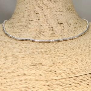Collar bañado en plata de 40cm Alargue 3cm Mostacilla Tubo Lisa 2.5x1mm LBO31255