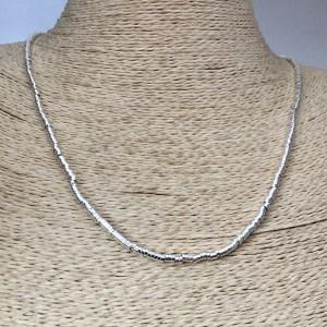 Collar bañado en plata de 50cm Alargue 3cm Mostacilla Tubo Lisa 2.5x1mm LBO31261