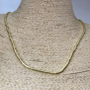 Collar bañado en oro 22k de 50cm Alargue 3cm Mostacilla Tubo Lisa 2.5x1mm LBO31262