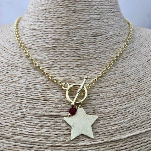 Collar bañado en oro 22k de 44cm Cadena rolo Broche Palito Estrella Cristal Rojo Oscuro LBO31276