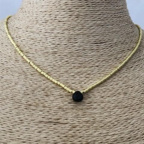 Collar bañado en oro 22k de 42cm Alargue 3cm Mostacilla Tubo Lijado 2x2mm Cristal Gota Negro LBO31286