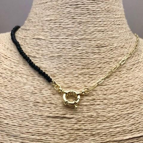 Collar bañado en oro 22k de 43cm Cadena Clip Cristal 3.5mm Negro Broche Timón LBO31308