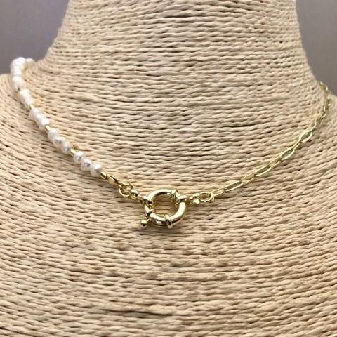Collar bañado en oro 22k de 43cm Cadena Clip Perlas de Rio Mostacilla Tubo Liso 2x2mm Broche Timón LBO31316