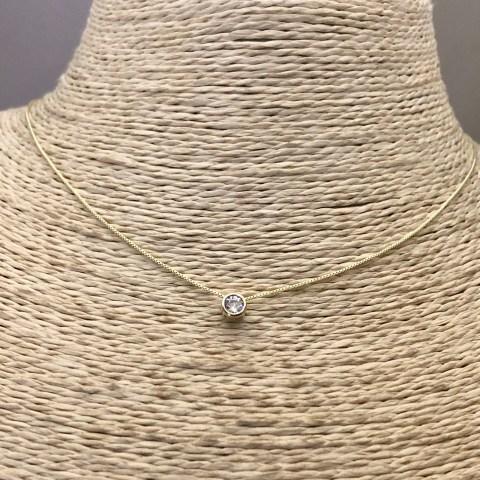 Collar bañado en oro 22k de 41cm Alargue 3cm Cadena Veneciana Punto de Luz LBO31332