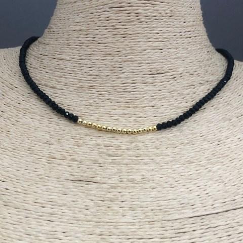 Collar bañado en oro 22k de 41cm Alargue 5cm Cristal 3mm Negro Bolitas 2.3mm LBO31354