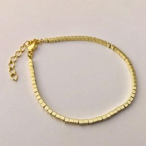 Pulsera bañada en oro 22k de 17cm Alargue 3cm Mostacilla Cuadrada Lisa 2x2mm LBO50949