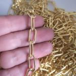 Cadena bañada en oro de 18k Eslabón Clip Ovalado 16x7mm 1 metro LDB30121