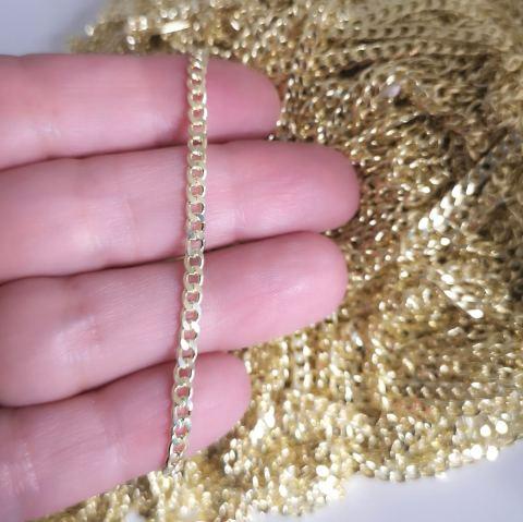 Cadena bañada en oro de 22k Eslabón Grumet 3mm 1 metro LDB30123