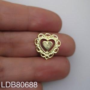 Dije bañado en oro de 15mm Corazón LDB80688