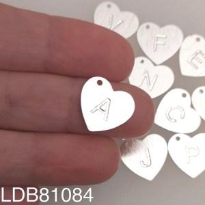 Dije bañado en plata Corazón Letra LDB81084