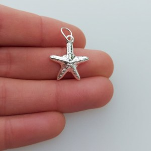 Dije bañado en plata de 19mm Estrella de Mar LDB81172