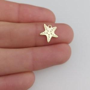 Dije bañado en oro de 11mm Estrella de Mar LDB81430