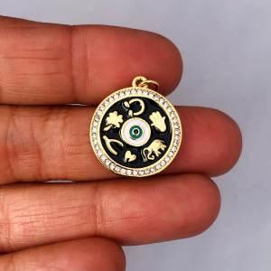 Dije bañado en oro de 20mm Medalla Suerte Circones LDB81799