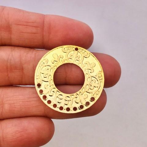 Dije bañado en oro 22k de 28mm Circulo LDB81887