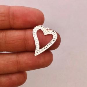 Dije bañado en plata de 19mm Corazón LDB81896