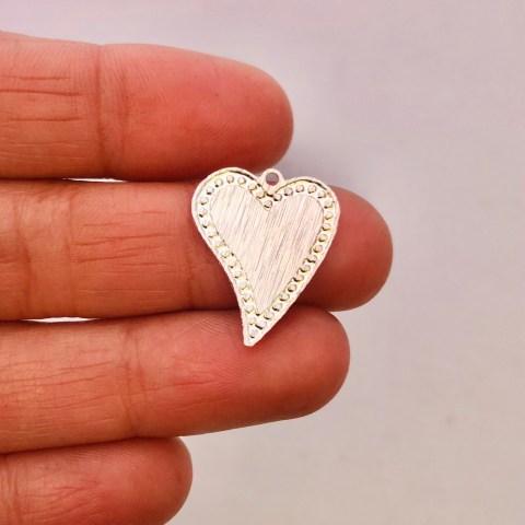 Dije bañado en plata de 19mm Corazón LDB81898