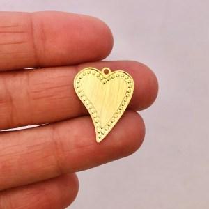 Dije bañado en oro 22k de 19mm Corazón LDB81899
