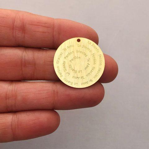 Dije bañado en oro 22k de 25mm Medallón Ho'oponopono LDB81943