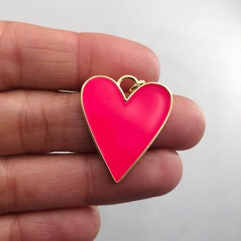 Dije bañado en oro 18k de 27mm Corazón Esmalte Fucsia LDB81977