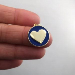 Dije bañado en oro 18k de 19mm Medalla Corazón Esmalte Azul LDB81983