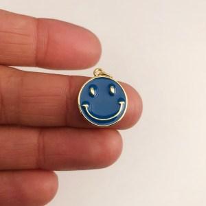 Dije bañado en oro 18k de 17mm Cara Feliz Esmalte Azul LDB82013