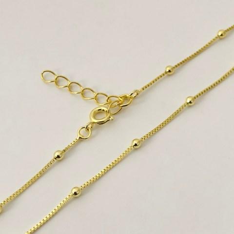 Cadena lista bañada en oro 22k Alargue 3cm Cadena Veneciana Bolitas LDC10060