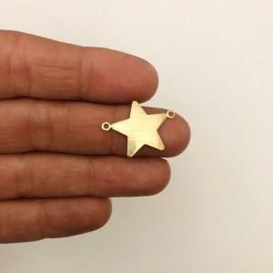 Dije bañado en oro 22k de 16mm Estrella Conector LDB82068