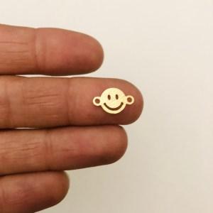 Dije bañado en oro 22k de 8mm Carita Feliz Conector LDB82074