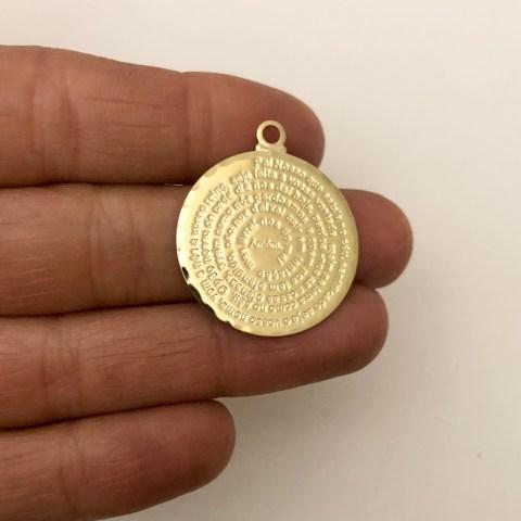 Dije bañado en oro 22k de 25mm Medallón Padre Nuestro LDB82102