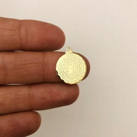 Dije bañado en oro 22k de 15mm Medalla Padre Nuestro LDB82106