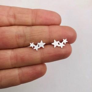 Aros bañados en plata de 7mm 3 Estrellas LBO11658