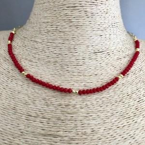 Collar bañado en oro de 43cm Cadena Clip Cristal 3mm Rojo Bolita 2.3mm LBO31380