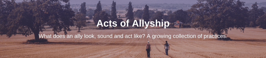 Two individuals walk side by side in a large field. Text overlay: Acts of Allyship