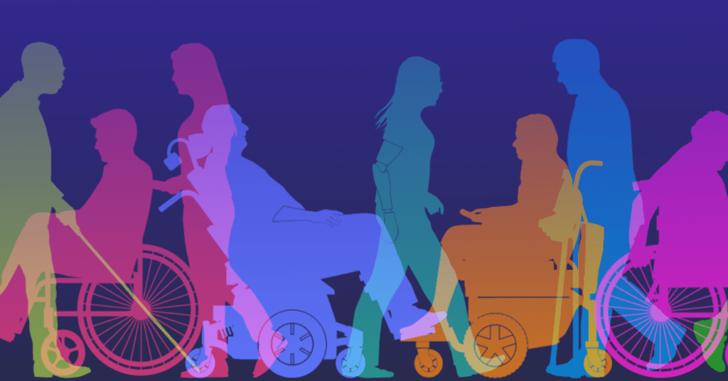 Graphic of silhouettes of differently abled bodies moving in various directions.