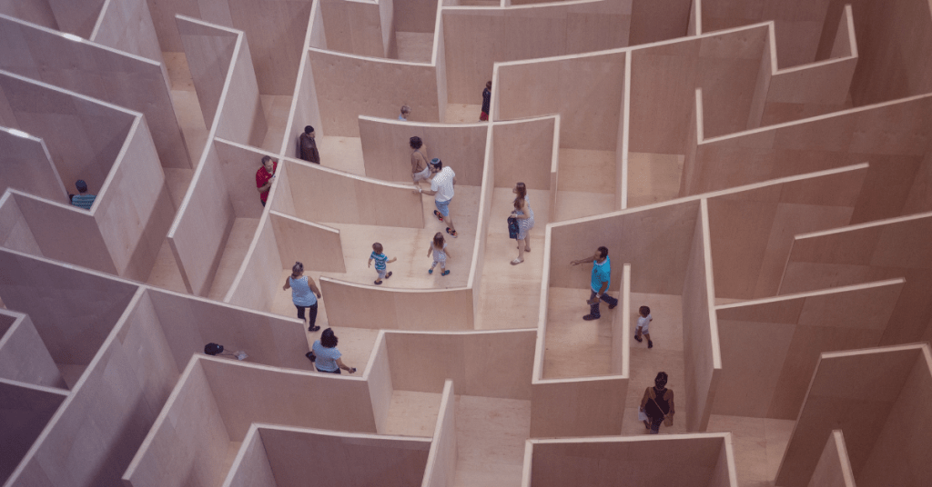 People enter a maze from different directions like the effects of inclusive marketing