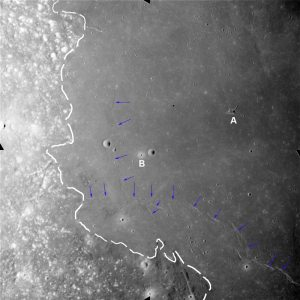 Lunar flood fronts designated by blue arrows